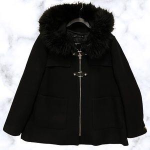 Zara XL wool jacket black coat buttons zip hood faux fur trim hood winter Womens